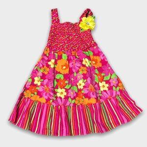 Sweet Heart Rose Flower Print Cotton Sun Dress